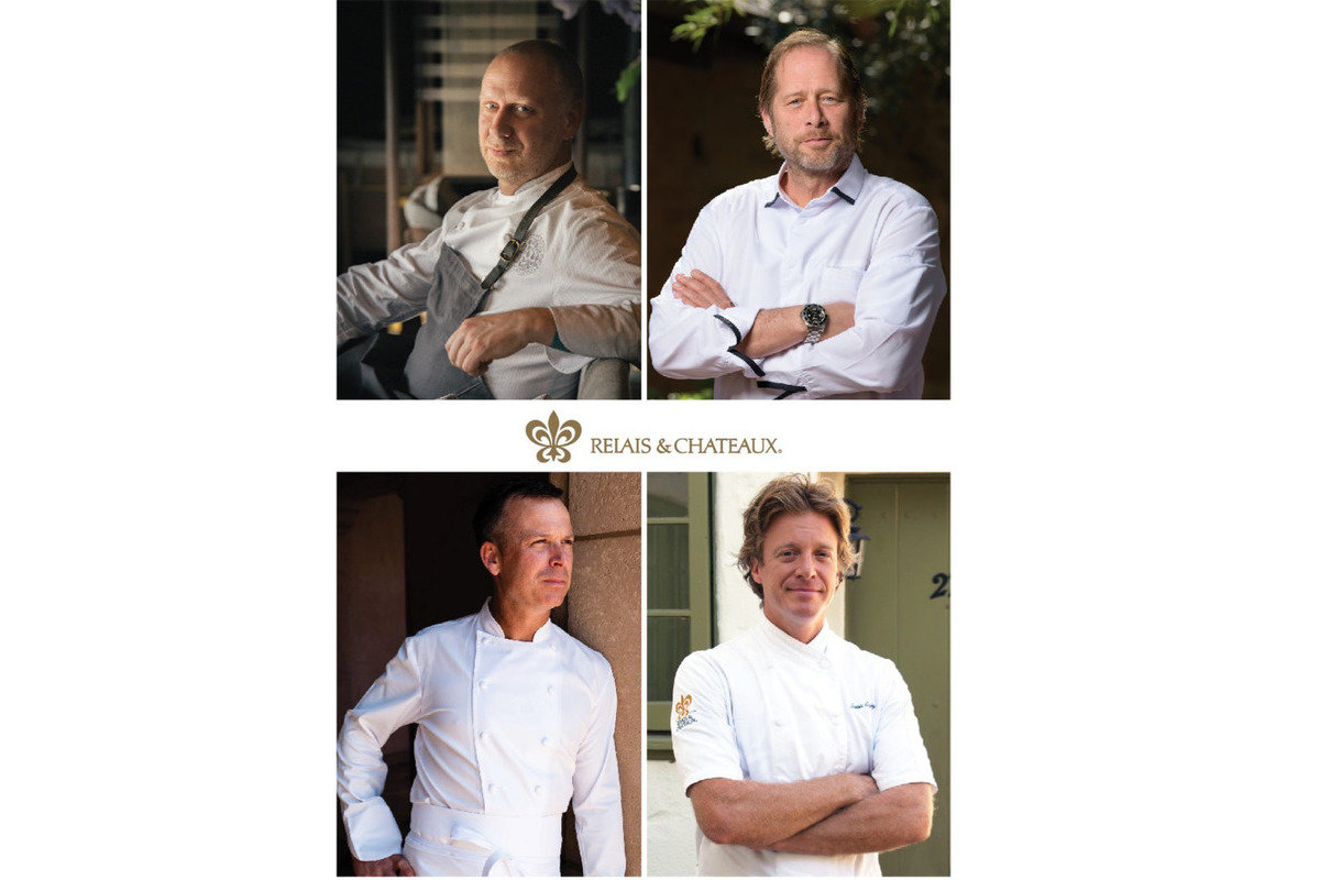 Portraits of Chef Connaughton, Chef Kinch, Chef/Director William Bradley of Addison, and Executive Chef Justin Cogley of Aubergine.