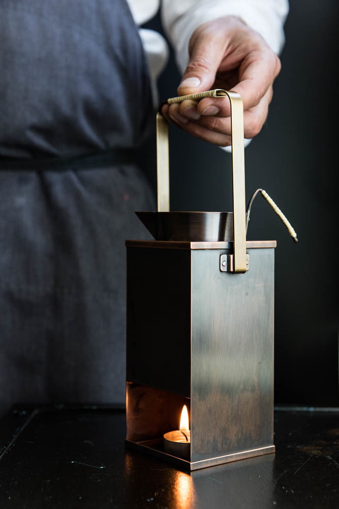 Custom copper service vessel created by Simplicity of Tokyo