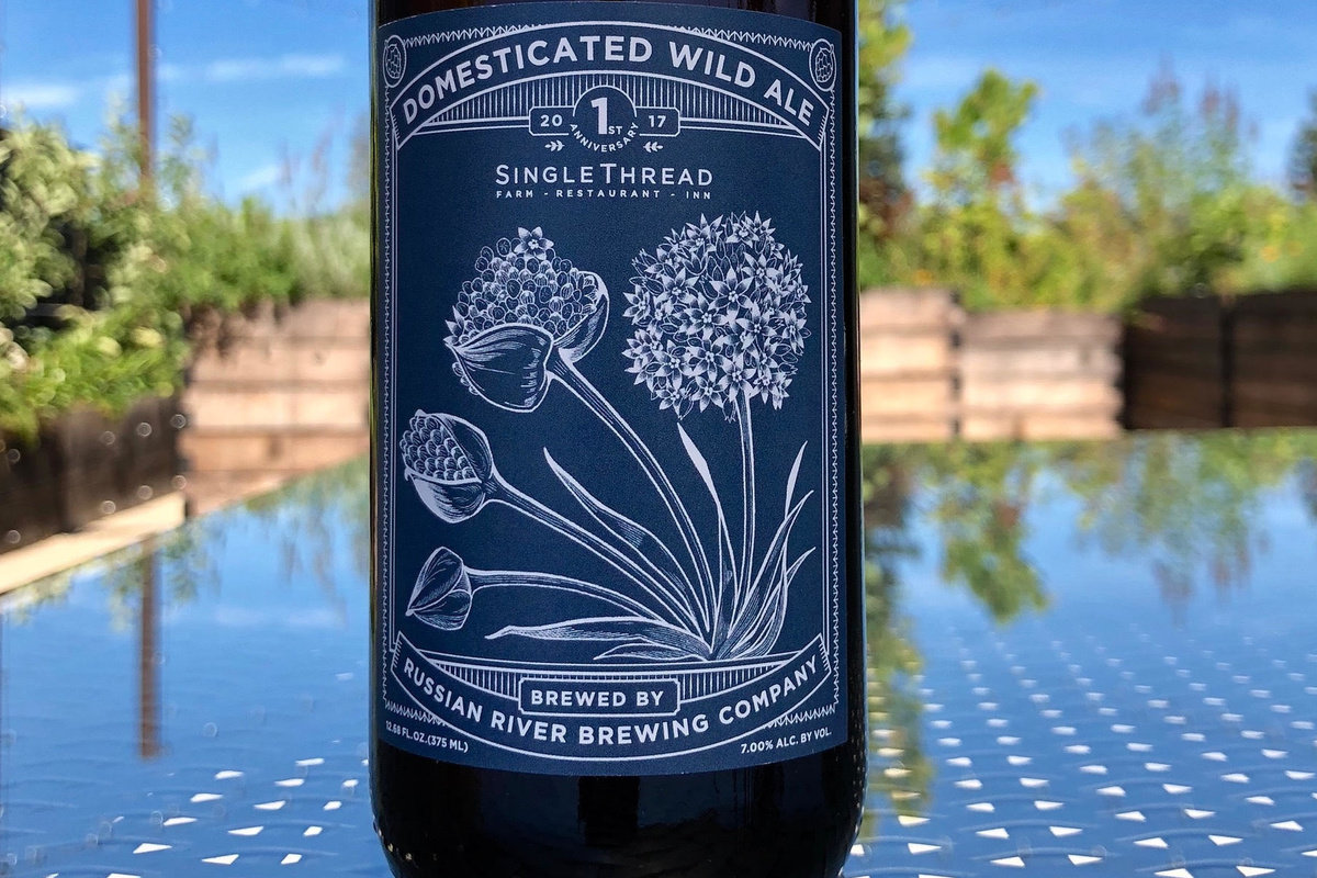 label on bottle of SingleThread Domesticated Wild Ale
